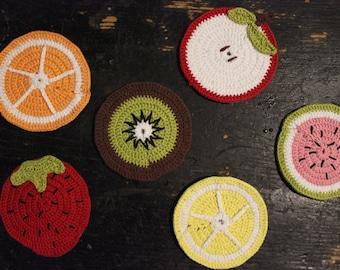 Crochet fruit coasters!