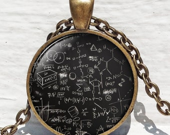 Mathematical pendant, Math formulas, Quantum physics, Science Jewelry, physics jewelry, Math Equation, Jewelry for men, Necklace for men