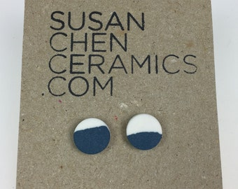Indigo and white porcelain earrings