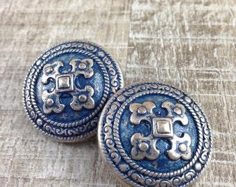 Unique Vintage Estate Silver Tone Blue Enamel Cross Shield Clip Earrings