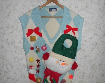 Crazy Snowman Ugly Christmas Sweater Party Vest Sleeveless V Neck Holiday Tacky Ornaments Hipster Retro Gaudy Womens Size Medium