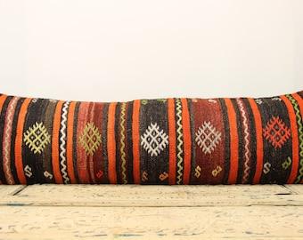 Turkish Big Lumbar kilim pillow cover 14x47 Inches Long Lumbar pillow cover Home Decor Bedding  pillow Throw pillow Accent Pillows DDT-23