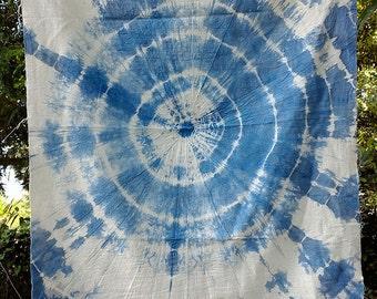 tie dye indigo handmade on cotton
