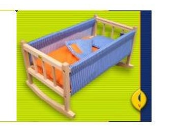 Pretty wooden cradle with bedclothes for dolls