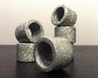 Silver Glitter Napkin Rings - Set of 6