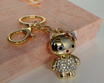 Clear Diamante Kitty Gold Plated Key Chain, Key Ring, Bag Charm, Gift For Her