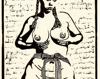 "Linocut woman nude erotic original title ""Woman from and with bow"""
