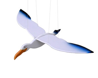 Wooden Flying Seagull Toy Hanging Handmade Hand painted Gift kids Decor