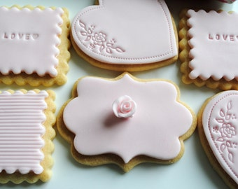 Pink Cookies//Iced Biscuits/ Wedding Favours/ Edible Gift/Wedding Biscuits