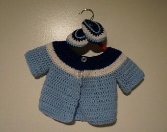 Handmade Baby Cardigan - Blue Sky