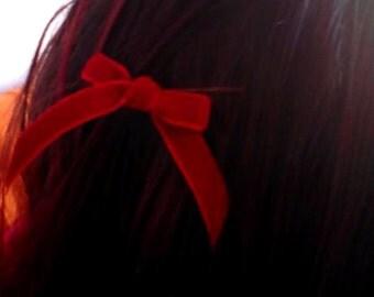 Velvet Bow hair clips