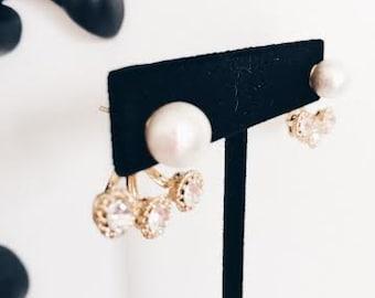 2 way earrings /cotton pearl & rhinestone.Bridal.Bridesmaid gift.