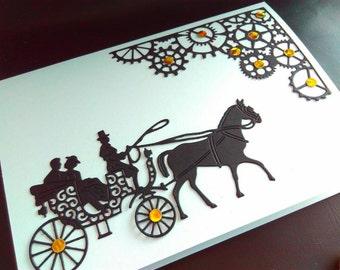 Quirky Handmade card, blank card, steampunk card, steampunk Christmas card, paper cut card, horse card, steampunk Christmas, steampunk card