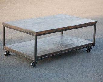 Charmant Rustic Industrial Coffee Table With Caster Wheels FREE SHIPPING