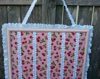 16x20 Light pink cherry little girl bow holder, red cherries bow holder, birthday gift, picture frame bow holder