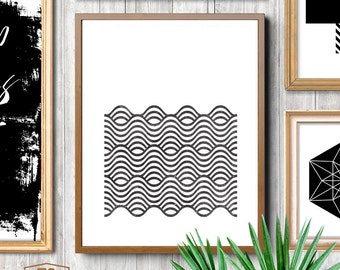 Affiche scandinavia, black and white scandinavian pattern print, nordic design, minimalist art, waves printable art