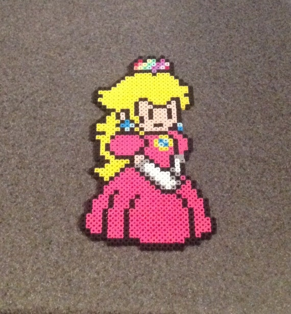 Princess Peach Paper Mario Perler Bead Sprite Pixel Video