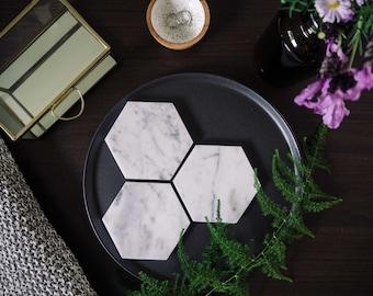 Carrara Marble Coasters - Stone Coasters - Housewarming Gift - Geometric - 4 pack - Marble