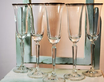Toasting Coupes, Mikasa, Wheaton,  Flared, Optic,  Champagne Flute,  Wedding Gifts