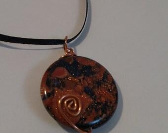 Copper Wire-Wrapped Goldstone Pendant