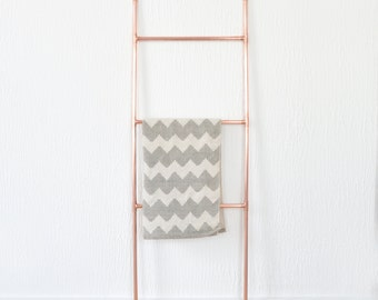 Copper Pipe Ladder for Blankets, Towels, Retail Display