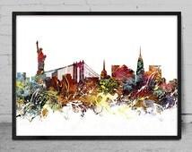 New York art, New York skyline, Painting, New York wall art, abstract art, New York Poster, Home Decor -x93