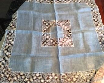 Vintage blue table topper and napkin set