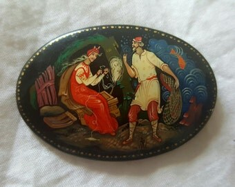 Russian lacquer hand painted lacquer pin
