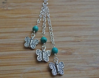 Spring Flutters- Triple Cascading Turquoise and Sterling Silver Butterfly Necklace