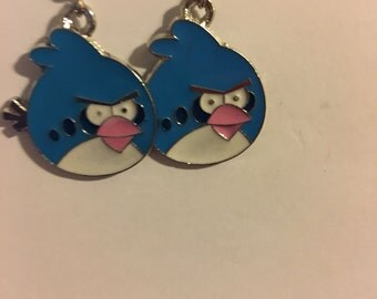 Blue Angry Bird Earrings  A27