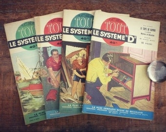 "Vintage - system - 1953 Magazine - 4 ""all the system"" numbers - Magazine french illustrated DIY"