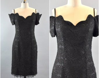 25% OFF Vintage 1960s Black Lace Off The Shoulder Dress. Floral Black Lace Dress. Off The Shoulder Dress. Little Black Dress.