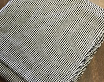Black/White Houndstooth Check Flannel Blanket Scarf