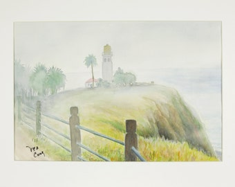 ORIGINAL painting, watercolor, nature, fog, lighthouse, gift art, 18x24/mounted 22x28