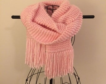 Oversized Pink Knit Scarf