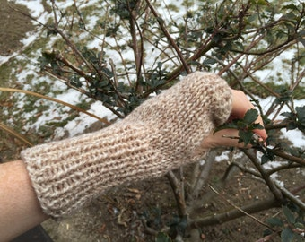 Knit Arm Warmers, fingerless mittens, wool, light grey,  texting gloves, gloves, wool, mid-length, ribbed