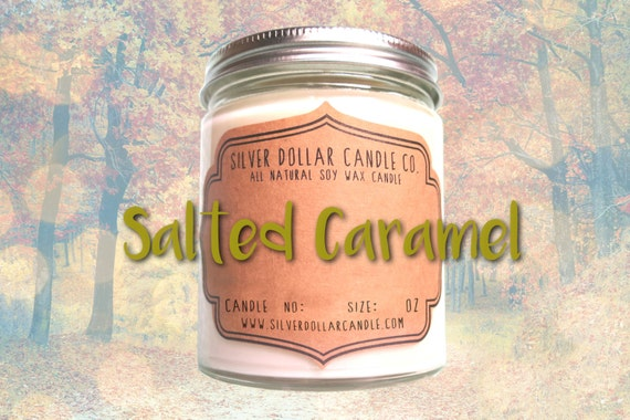 Salted Caramel 8oz Scented Candle Fall By Silverdollarcandleco