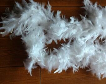 White Feather Boa  for Craft or wearing  White  6 feet   1.2 oz