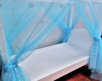 Doll Bed Canopy Scarf Ice Blue Silver Metallic Elsa Blue