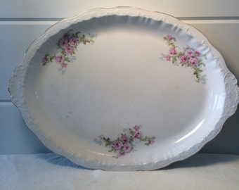Vintage Floral Serving Platter, Cottage Style Platter, Antique Serving Platter