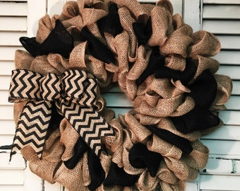 Black and Tan burlap Wreath