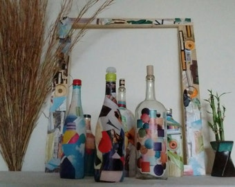Hand made Collage designed bottles and frame set