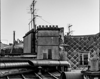 Paris Rooftop, Black and White, Wall Decor, Fine Art Photography
