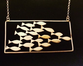 Shoal of fish silver and gold necklace -Zephirine Designs