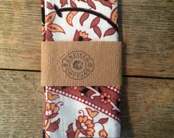 Orange Indian Madras Pocket Square - Hankerchief - Made in USA - Elephants - Floral
