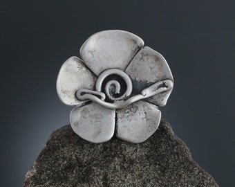 Abstract Sterling Silver Flower Ring - Large Statement Ring - Chunky Ring - Vine Ring -  Abstract Ring - Vine Jewelry - Sherry Tinsman