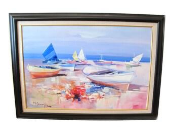 Mario Smeraglia - Barche in Secca - Oil Painting Framed Art