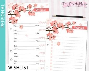 Printable Personal WISHLIST List Inserts for planner Filofax Personal, Kikki K Medium - PDF - Cherry Blossom Design