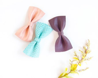 Baby Leather Hair Bow Crocodile Clip/Nylon Headband Mint Plum & Rose Gold Baby Bow Adult Bow, Little Girl Bow, Newborn Bows, Soft Nylon Bow