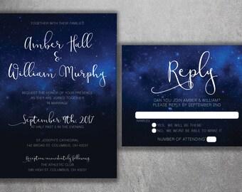 Stars Wedding Invitation, Night Sky Wedding Invitation, Stars, Summer, Blue and White, Dream, Wedding Invite, Summer Wedding Invitation